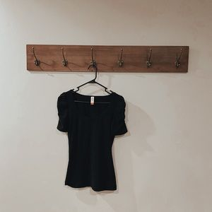 Ruched Short Sleeve Black Top